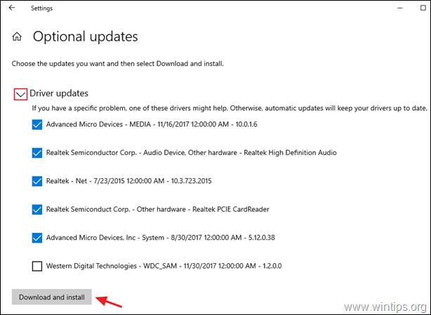 install optional updates windows 10
